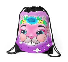 Flower Crown Baby Bunny Drawstring Bag