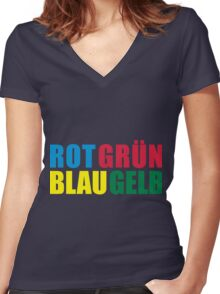 Rot Grün Blau Gelb Women's Fitted V-Neck T-Shirt
