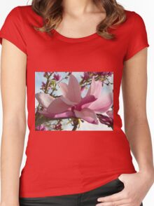 Floral - Japanese Magnolia Macro - Garden Flower Women's Fitted Scoop T-Shirt