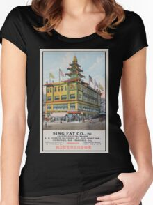 1900s Chinese Bazaar department store Chinatown San Francisco Women's Fitted Scoop T-Shirt