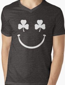 Shamrock Smiley Face Mens V-Neck T-Shirt