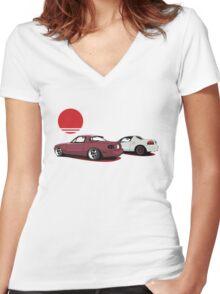 JDM Sunset Women's Fitted V-Neck T-Shirt