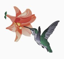 Hummingbird Hovering Near Orange Lily Flower Baby Tee