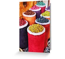 Colours of a Marrakech market stall Greeting Card