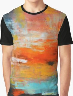 Red abstract sunset landscape painting Graphic T-Shirt