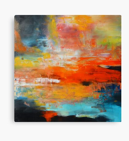 Red abstract sunset landscape painting Canvas Print