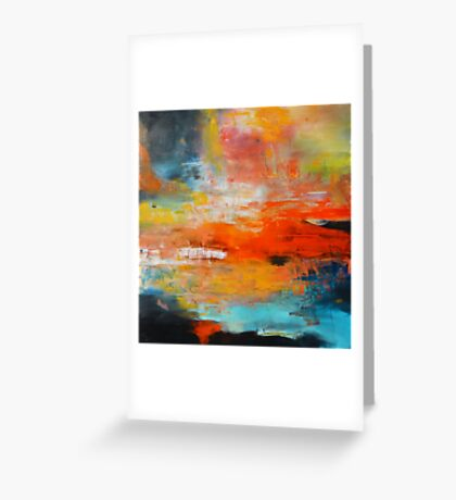 Red abstract sunset landscape painting Greeting Card