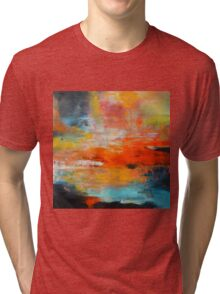 Red abstract sunset landscape painting Tri-blend T-Shirt