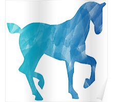Blue Watercolor Horse Poster