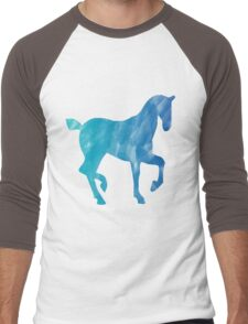 Blue Watercolor Horse Men's Baseball ¾ T-Shirt