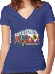 Psychedelic Kombi Women's Fitted V-Neck T-Shirt