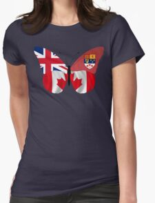 Modern/Historical Canadian Flag Butterfly Womens Fitted T-Shirt