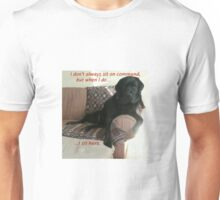 Black Dog Sits On Command on Couch Unisex T-Shirt