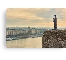 Statue of Virgin Mary above Budapest Canvas Print