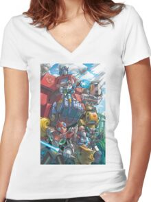 Megaman X Transformers Women's Fitted V-Neck T-Shirt