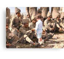 A French boy introduces himself to Indian soldiers who had just arrived in France to fight alongside French and British forces, Marseilles, 30th September 1914 Canvas Print
