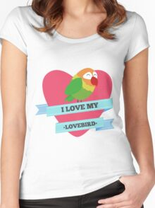 I Love My Lovebird (Green) Women's Fitted Scoop T-Shirt