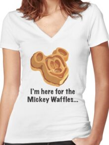 Mickey Waffle Women's Fitted V-Neck T-Shirt