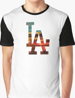 LA Beach White Graphic T-Shirt
