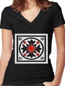 red sun 2 Women's Fitted V-Neck T-Shirt