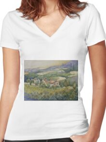 Sunflowers - Tuscany Women's Fitted V-Neck T-Shirt
