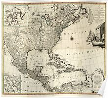American Revolutionary War Era Maps 1750-1786 158 A new and correct map of North America, with the West India Islands Divided according to the last Treaty of Poster
