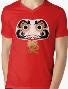 Luck & Good Fortune Daruma Mens V-Neck T-Shirt