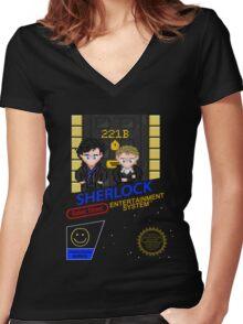 NINTENDO: NES SHERLOCK Women's Fitted V-Neck T-Shirt