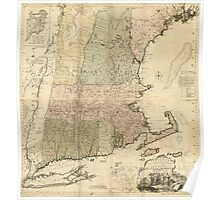 American Revolutionary War Era Maps 1750-1786 101 A map of the most inhabited part of New England containing the provinces of Massachusets Bay and New Poster