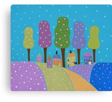 Trees, Houses and Cats Canvas Print
