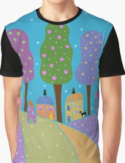 Trees, Houses and Cats Graphic T-Shirt