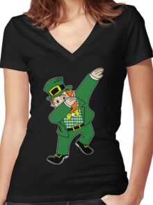 Dabbin' Leprechaun Women's Fitted V-Neck T-Shirt