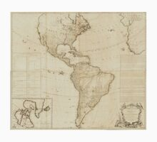 American Revolutionary War Era Maps 1750-1786 121 A map of the whole continent of America divided into North and South and West Indies with a copius table One Piece - Long Sleeve