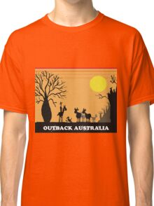 Aussie outback with boab tree and stockman design Classic T-Shirt