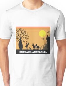 Aussie outback with boab tree and stockman design Unisex T-Shirt