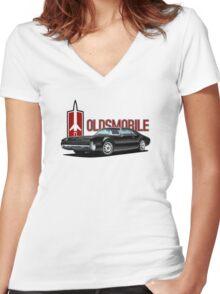 1966 Oldsmobile Toronado - Black Women's Fitted V-Neck T-Shirt