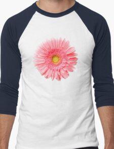 Flower Power, Pink Fresh Gerbera Men's Baseball ¾ T-Shirt