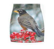 Robin Perched on Snowy Winterberry Mini Skirt