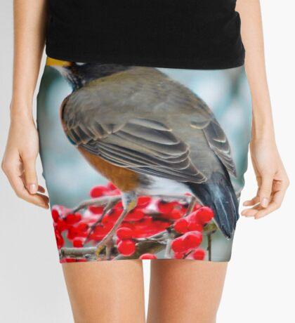 Robin Perched on Snowy Winterberry Mini Skirt