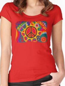 Psychedelic Flaming Peace Women's Fitted Scoop T-Shirt