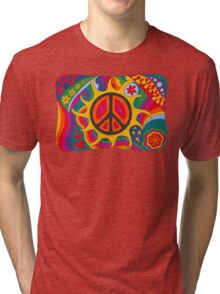 Psychedelic Flaming Peace Tri-blend T-Shirt