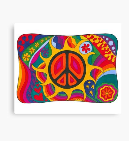 Psychedelic Flaming Peace Canvas Print