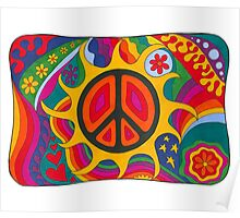 Psychedelic Flaming Peace Poster