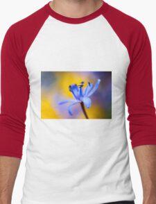 Blue romantic flower Men's Baseball ¾ T-Shirt