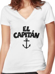 El Capitán Anchor Women's Fitted V-Neck T-Shirt