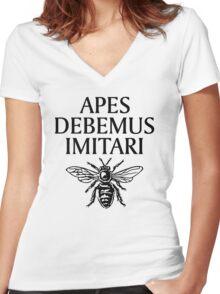 Apes Debemus Imitari Women's Fitted V-Neck T-Shirt