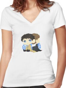 Cas to Dean Women's Fitted V-Neck T-Shirt