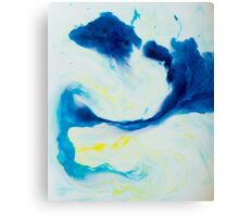 Watercolour abstract Swirl 1, blue,yellow,white Canvas Print