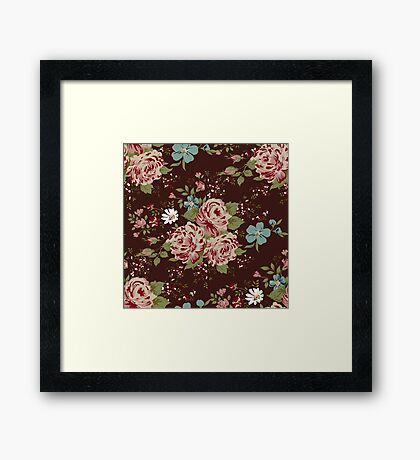 Vintage floral cute wallpaper  Framed Print