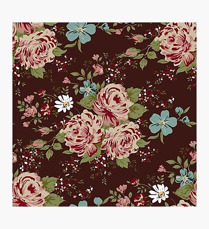 Vintage floral cute wallpaper  Photographic Print